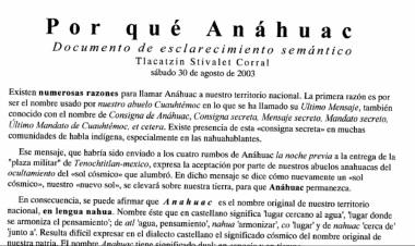 Por Qué Anáhuac